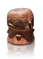 Terracotta Vase with female face. Catalhoyuk Collections. Museum of Anatolian Civilisations, Ankara. Against a white background .<br /> <br /> If you prefer you can also buy from our ALAMY PHOTO LIBRARY  Collection visit : https://www.alamy.com/portfolio/paul-williams-funkystock/prehistoric-neolithic-art.html - Type Catalhoyuk into the LOWER SEARCH WITHIN GALLERY box. Refine search by adding background colour, place, museum etc.<br /> <br /> Visit our PREHISTORIC PLACES PHOTO COLLECTIONS for more  photos to download or buy as prints https://funkystock.photoshelter.com/gallery-collection/Prehistoric-Neolithic-Sites-Art-Artefacts-Pictures-Photos/C0000tfxw63zrUT4