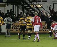 Photo: Barry Bland.<br />Boston United v Swindon Town. The FA Cup. 16/11/2005.<br />Tom Heaton is sent off.