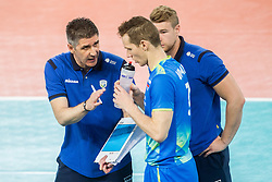Slobodan Kovac, head coach of Slovenia and Tine Urnaut of Slovenia during volleyball match between National teams of Slovenia and Portugal in 2nd Round of 2018 FIVB Volleyball Men's World Championship qualification, on May 26, 2017 in Arena Stozice, Ljubljana, Slovenia. Photo by Vid Ponikvar / Sportida