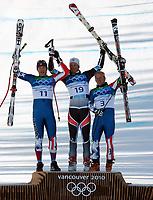 Alpint , 19. januar 2010 , OL Vancouver , super G herrer<br /> Aksel Lund Svindal , Norge tok gull<br /> <br />  Bild zeigt den Jubel von Bode Miller (USA), Aksel Lund Svindal (NOR) und Andrew Weibrecht (USA).