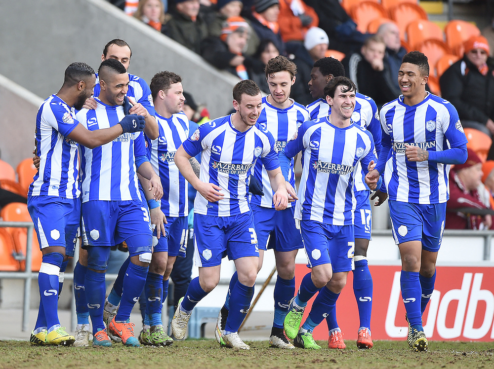 Sheffield Wednesday's Lewis McGugan is congratulated on scoring his team's 1st goal <br /> <br /> Photographer Dave Howarth/CameraSport<br /> <br /> Football - The Football League Sky Bet Championship - Blackpool v Sheffield Wednesday - Saturday 7th March 2015 - Bloomfield Road - Blackpool<br /> <br /> © CameraSport - 43 Linden Ave. Countesthorpe. Leicester. England. LE8 5PG - Tel: +44 (0) 116 277 4147 - admin@camerasport.com - www.camerasport.com