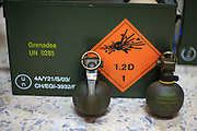 Members of the Free Syrian Army (FSA) armed forces appear to have received Swiss-made hand grenades in Marea on Sunday, July 1, 2012. The box holds the following ID numbers: 4A/Y21/S/03, CH/EGI-3932/RM, under title Grenades UN 0285. (Photo by Vudi Xhymshiti)