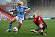 Manchester United midfielder Lauren James (16) shoots at goal during the FA Women's Super League match between Manchester United Women and Manchester City Women at Leigh Sports Village, Leigh, United Kingdom on 14 November 2020.
