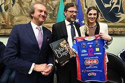 FABIO LEONARDI GIANCARLO GIORGETTI E FRANCESCA PICCININI<br /> PALLAVOLO CELEBRAZIONE COPPE EUROPEE VOLLEY 2018-2019 VINTE DALLE SQUADRE ITALIANE A PALAZZO CHIGI A ROMA<br /> ROMA 22-05-2019<br /> FOTO FILIPPO RUBIN