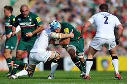Leicester Tigers number 8 Jordan Crane goes on the charge - Photo mandatory by-line: Patrick Khachfe/JMP - Tel: Mobile: 07966 386802 - 21/09/2013 - SPORT - RUGBY UNION - Welford Road Stadium - Leicester Tigers v Newcastle Falcons - Aviva Premiership.