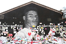 © Licensed to London News Pictures. 23/07/2021. Manchester, UK.  Messages cover the mural of Marcus Rashford in Withington. The messages are to be removed today over fears that they will damaged by rain. Photo credit: Adam Vaughan/LNP