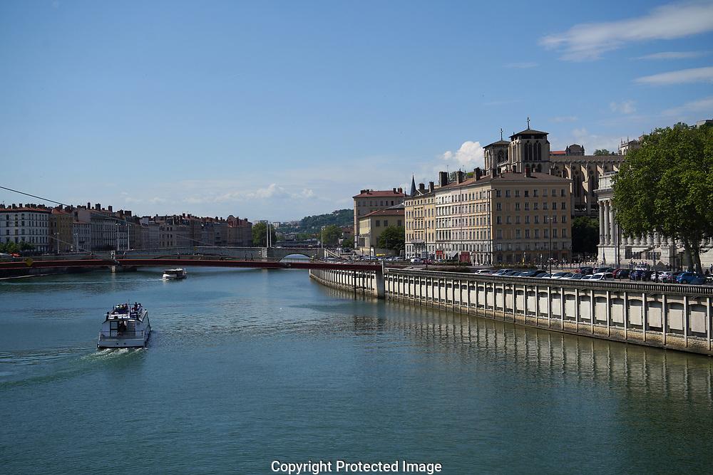 The  Saône river  Lyon France<br /> Photo by Dennis Brack
