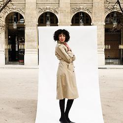 "Dounia like to wander around the park of Palais Royal. ""Paris walkers"", for Eurostar Magazine. Paris, France. 18 March 2010. Photo: Antoine Doyen."