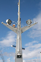 Mast on ferry from the Aran Islands in Galway Ireland with flood lights and loudspealer