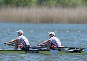 Brandenburg. GERMANY. GBR W2X. Bow Katherine GRAINGER and Victoria THORNLEY<br /> 2016 European Rowing Championships at the Regattastrecke Beetzsee<br /> <br /> Sunday  08/05/2016<br /> <br /> [Mandatory Credit; Peter SPURRIER/Intersport-images]