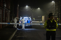 © Licensed to London News Pictures. 05/11/2020. Manchester, UK. A 16 year old boy has been stabbed to death this evening (5th November 2020) . Police and crime scene investigators have taped off several streets around Birchenall Street in Moston , North Manchester , as investigations are carried out . Photo credit: Joel Goodman/LNP
