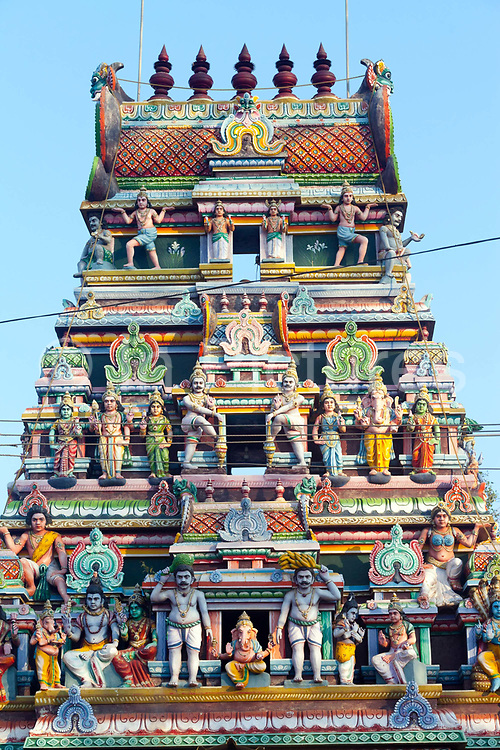 The Sri Varadaraja Perumal Temple, Pondicherry, India.<br /> Also known as The Thirubuvanai Temple is dedicated to the Hindu god Vishnu. Constructed in the Dravidian style of architecture, the temple is a storehouse of Chola architecture. The temple has a five tiered rajagopuram, the temples gateway tower. The temple is originally believed to have been built by the Cholas during the 11th century, with later expansion from the Pandyas.<br /> Pondicherry now Puducherry is a Union Territory of India and was a French territory until 1954 legally on 16 August 1962. The French Quarter of the town retains a strong French influence in terms of architecture and culture.