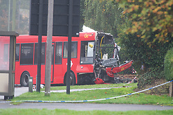 ©Licensed to London News Pictures 01/11/2019.<br /> Orpington,UK. One person is dead and 15 others have been injured in a crash between two buses and a car last night in Orpington, South East London. A man has been arrested for dangerous driving. Police are still on scene and a cordon is in place. Photo credit: Grant Falvey/LNP