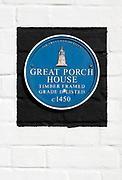 Great Porch House,  Devizes, Wiltshire, England, UK blue plaque The Trust for Devizes