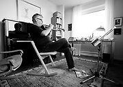 Sweden 2014.<br /> Story about world class trumpet player Håkan Hardenberger.<br /> Håkan Hardenberger practising at his home in Malmö, Sweden.
