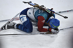 February 10, 2018 - Pyeongchang, South Korea - ANAIS BESCOND collapses at the finish line of  the Womens Biathlon 7.5km Sprint Saturday, February 10, 2018 at Alpensia Biathlon Centre at the Pyeongchang Winter Olympic Games. Bescond placed 16th. Photo by Mark Reis, ZUMA Press/The Gazette (Credit Image: © Mark Reis via ZUMA Wire)