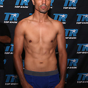 Raul Hirales is seen during weigh ins for the Top Rank boxing event at Osceola Heritage Park in Kissimmee, Florida on September 21, 2016.