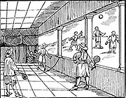 Young men playing a form of tennis. Woodcut from Commenius 'Orbis sensualis pictura'.  Woodcut 16th century.