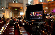 Video camera set up before former archbishop Desmond Tutu arrives at a ceremony to receive the 2013 Templeton Prize at the Guildhall in London, UK. South African anti-apartheid campaigner Desmond Tutu won the 2013 Templeton Prize worth $1.7 million for helping inspire people around the world by promoting forgiveness and justice.