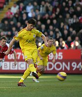 Photo: Lee Earle.<br /> Charlton Athletic v Liverpool. The Barclays Premiership. 16/12/2006. Liverpool's Xabi Alonso scores their first goal from the penalty spot.