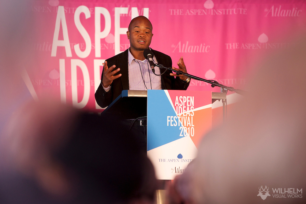 05  JUL 2010: Attendees speak at the Aspen Ideas Festival, sponsored by Booz Allen Hamilton, in Aspen, CO.  ©Brett Wilhelm