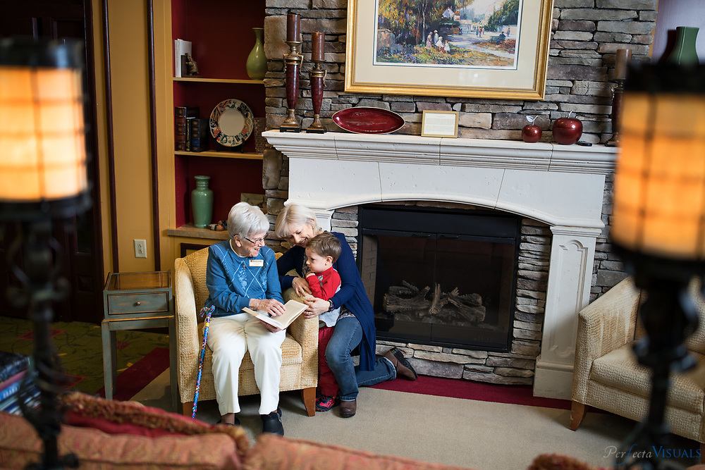 Residents of Pennybyrn At Maryfield, enjoy the amenities of the retirement community located in High Point, N.C. on Thursday January 25, 2018.<br /> <br /> Ruth Gallant with her daughter, Anne Gallant, and great grandson, Joe Cox, 3,<br /> <br /> Hillary Rauch, left, Beth Hoffman, center and Dick Hoffman enjoy their time a the pub located inside the facility.<br /> <br /> Photographed, Thursday, January 25, 2018, in High Point, N.C. JERRY WOLFORD and SCOTT MUTHERSBAUGH / Perfecta Visuals