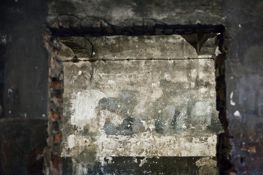 Entrance to gas chamber interior (Krematorium I), Auschwitz, Poland.