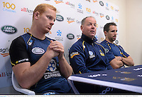 16 June 2013; Brumbies head coach Jake White with captain Peter Kimlin, left, and Andrew Smith during a press conference ahead of their game against British & Irish Lions on Tuesday. British & Irish Lions Tour 2013, Brumbies Press Conference, Brumbies Rugby Training Centre, Griffith, Canberra, Australia. Picture credit: Stephen McCarthy / SPORTSFILE