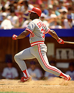 QUEENS, NY - 1989:  Ken Griffey Sr. of the Cincinnati Reds bats during an MLB game at Shea Stadium during the 1989 season.  (Photo by Ron Vesely) Subject:   Ken Griffey Sr.