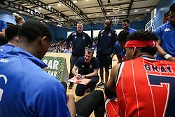 Bristol Flyers head coach Andreas Kapoulas gives a team talk - Photo mandatory by-line: Arron Gent/JMP - 28/04/2019 - BASKETBALL - Surrey Sports Park - Guildford, England - Surrey Scorchers v Bristol Flyers - British Basketball League Championship
