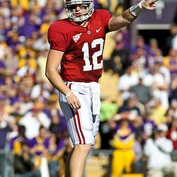 November 6, 2010; Baton Rouge, LA, USA; Alabama Crimson Tide quarterback Greg McElroy (12) on the field during the first half against the LSU Tigers at Tiger Stadium.  Mandatory Credit: Derick E. Hingle