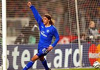 Photo: Scott Heavey.<br /> VFB Stuttgart v Chelsea. Champions League Quarter Final First Leg. 25/02/2004.<br /> Hernan Crespo celebrates after an own goal