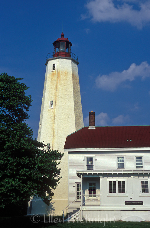 The Sandy Hook Lighthouse, located in Sandy Hook, New Jersey, is the oldest working lighthouse in the United States. It was restored in 2000 (photo taken in 2005).