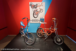 Schwin Stingray bicycles on display in Drag Racing: America's Fast Time - exhibition at the Harley-Davidson Museum during the Milwaukee Rally. Milwaukee, WI, USA. Saturday, September 3, 2016. Photography ©2016 Michael Lichter.