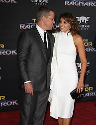Thor: Ragnarok Premiere at El Capitan Theatre in Hollywood, California on 10/10/17. 10 Oct 2017 Pictured: Matt Damon, Luciana Barroso. Photo credit: River / MEGA TheMegaAgency.com +1 888 505 6342