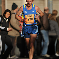 25 October 2010; James McIntyre, from Shannon, Co. Clare, in action during the Lifestyle Sports - adidas Dublin Marathon 2010, Merrion Square, Dublin. Picture credit: Barry Cregg / SPORTSFILE *** NO REPRODUCTION FEE ***