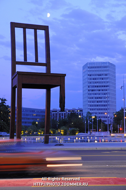 Broken chair monument to victims of unexploded cluster bombs. Geneva, Switzerland