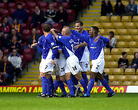 Photo. Glyn Thomas.<br /> Bradford v Ipswich. Nationwide Division 1.<br /> Bradford & Bingley Stadium, Bradford. 11/10/03.<br /> Ipswich's Alan Mahon is mobbed by his teammates after scoring his side's first half goal.