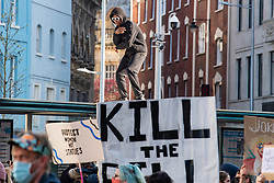 © Licensed to London News Pictures. 03/04/2021. Bristol, UK. Protesters gather during the 'Kill the Bill' demonstration in Bristol. Crowds gathered to protest against the proposed Police, Crime, Sentencing and Courts Bill. Photo credit: Peter Manning/LNP