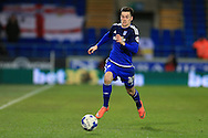 Tom Lawrence of Cardiff city makes a break. Skybet football league championship match, Cardiff city v Leeds Utd at the Cardiff city stadium in Cardiff, South Wales on Tuesday 8th March 2016.<br /> pic by Andrew Orchard, Andrew Orchard sports photography.