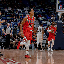Oct 3, 2017; New Orleans, LA, USA; Chicago Bulls guard Jarell Eddie (31) celebrates after a three point basket against the New Orleans Pelicans during the fourth quarter of a NBA preseason game at the Smoothie King Center. The Bulls defeated the Pelicans 113-109. Mandatory Credit: Derick E. Hingle-USA TODAY Sports