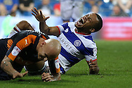 Jonjo Shelvey of Newcastle United collides into Jordan Cousins of QPR who reacts in pain.. EFL Skybet football league championship match, Queens Park Rangers v Newcastle Utd at Loftus Road Stadium in London on Tuesday 13th September 2016.<br /> pic by John Patrick Fletcher, Andrew Orchard sports photography.