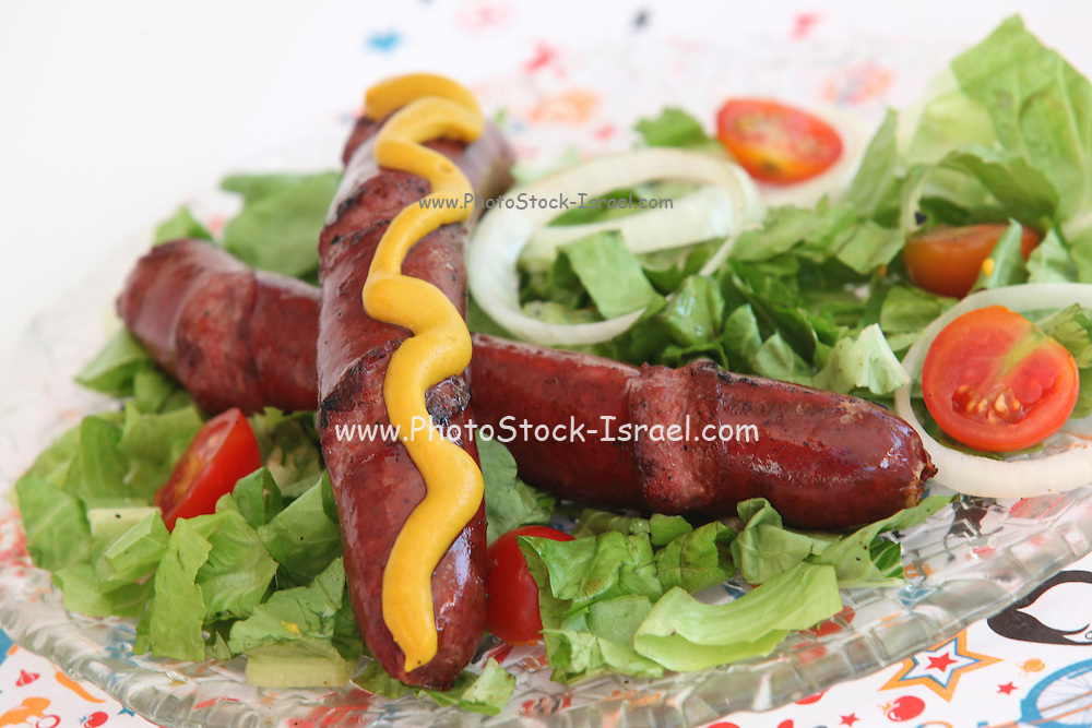 grilled Sausage with mustard and salad