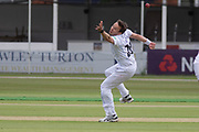 Tony Palladino just fails to hand on to caught and bowled chance during the Specsavers County Champ Div 2 match between Leicestershire County Cricket Club and Derbyshire County Cricket Club at the Fischer County Ground, Grace Road, Leicester, United Kingdom on 28 May 2019.