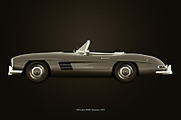 Black and white version of the legendary Mercedes 300SL roadster from 1953 <br />
