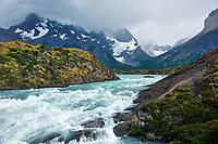 Salto Grande Rapids just before the Waterfall in Torres del Paine National Park, Chile. One of three images taken with a Nikon D3x camera and 24-120 mm f/4 lens (ISO 100, 34 mm, f/11, 1/30 sec). Raw images processed with Capture One Pro, AutoPano Giga Pro, Focus Magic, and Photoshop CC.