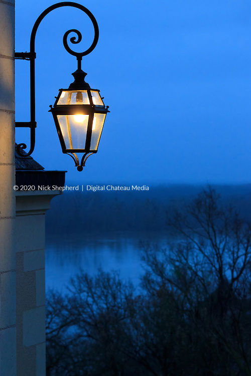 Night light on the Priory overlooking the Loire Valley, France.