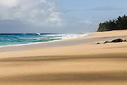 An empty beach n the North Shore of Oahu, Hawaii.