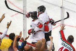 Balazs Sebok and Hari Janos celebrate after Sebok scored first goal for Hungary during Ice Hockey match between National Teams of Hungary and Slovenia in Round #3 of 2018 IIHF Ice Hockey World Championship Division I Group A, on April 25, 2018 in Arena Laszla Pappa, Budapest, Hungary. Photo by David Balogh / Sportida
