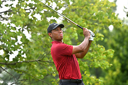 August 12, 2018 - St. Louis, Missouri, U.S. - ST. LOUIS, MO - AUGUST 12: Tiger Woods hits his shot on the #2 tee during the final round of the PGA Championship on August 12, 2018, at Bellerive Country Club, St. Louis, MO.  (Photo by Keith Gillett/Icon Sportswire) (Credit Image: © Keith Gillett/Icon SMI via ZUMA Press)